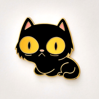 little black kitty big yellow eyes, enamel pin