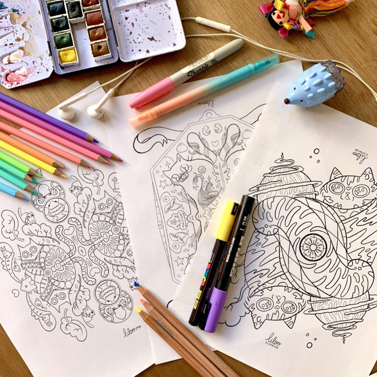 cat coloring pages liloo illustration