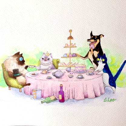 order a custom artwork tea party liloo illustration commissions