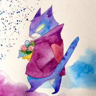 Romantic cat illustration watercolor