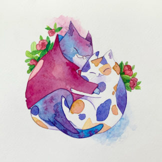 cats cuddling watercolor illustration