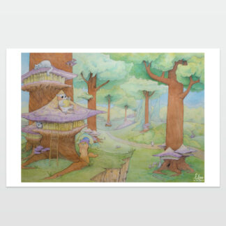 poster biblioteca de gatos liloo illustration